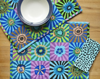 Table Placemats Dining Kitchen Eating Fabric Decor Gift Colourful Kaffe Fassett Print Set of 2 printed with Flowers, Blues Mauves UK made