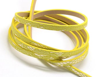 1.15 m flat Strip 5 mm faux metallic leather cord lace bright yellow