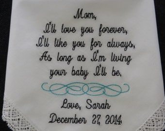 Mother Of The Bride Handkerchief - I'll Love You Forever, Your BABY I'll Be - Mother Of The Bride - Hankie - Hanky - Embroidered Hankerchief