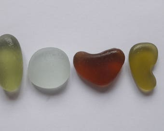 4 French LOVE sea glass / sea glass french