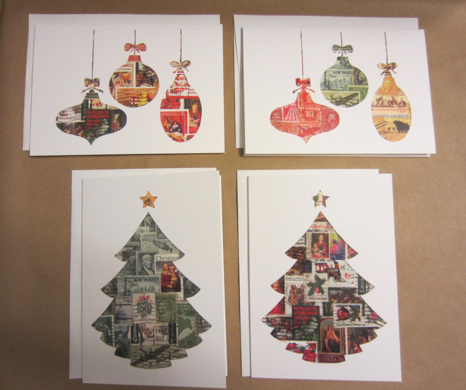 Christmas Cards Ornaments Christmas Tree Recycled Vintage