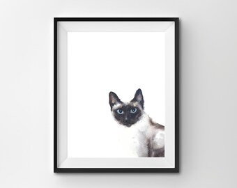 Watercolour Cat Print, Cute Cat Poster, Instant Download, Digital Print, Minimal Animal Art, Modern Home Decor