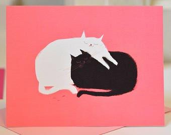 Love Pile Cat Card -  Love Card - Love You Cat Card - Black & White Cat