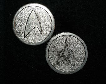 Feddies and Klingons Heads or Tails Pewter Flipping Coin