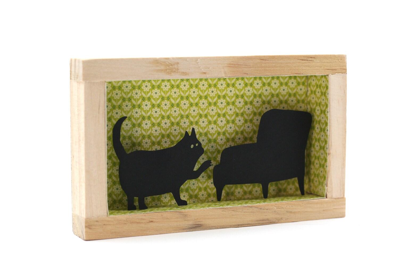 paper cut diorama cat framed art funny cats diorama