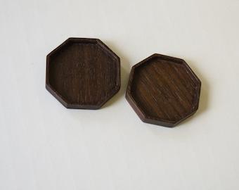 Octagonal bezel tray settings fine finished - Sailors Valentine - Walnut - 36 mm cavity diam. - (F83-W) - Set of 2