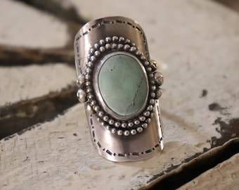 Natural Turquoise Ring Sterling Silver Ring Boho Ring