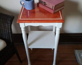 Vinegar painted wood occasional table in sienna