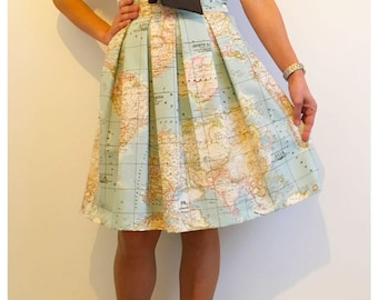world map skirt pleated skirtmap printed high waisted skirt in blue vintage