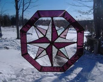 octagon stained glass suncatcher
