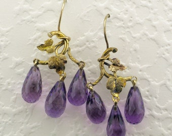 Yellow Gold Amethyst Briolette Dangle Earrings; Amethyst Earrings; Pierced Amethyst Earrings; Amethyst Drop Earrings with Leaf Design