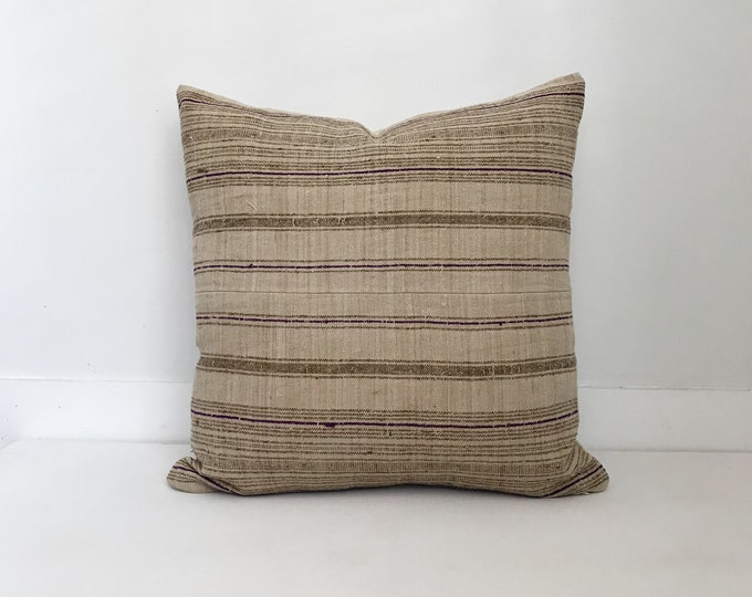 Hmong Textile Pillow Cover Vintage, Ethnic, Handwoven, Hemp, Striped, Neutral