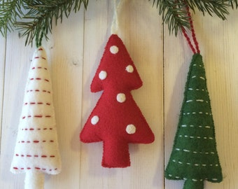 Tree Ornaments - Wool Felt Blend - Red, Green and White - Set of Three