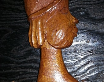 Vintage Handmade Tribal Woman Wooden Sculpture
