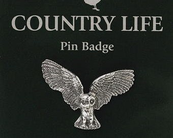 Flying Owl Pewter Pin Badge