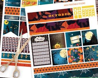 October Big HP Planner Stickers, Big HP October Planner Stickers, Halloween Monthly Planner Kit, Printable Stickers, Monthly Planner, Autumn