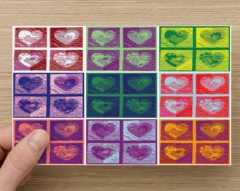 Color Block Hearts on Blank Note Card – Romantic Note Card or Perfect Valentine