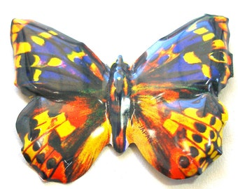 Tin toy BUTTERFLY pin, Japanese metal jewelry brooch in brown, yellow, & orange.