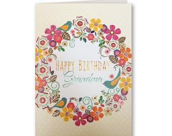 Happy Birthday Grandma - Birthday Card Grandma - Grandma Birthday Card - Birthday Card - Birthday Greeting Card - Floral