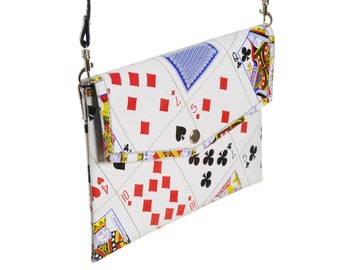 Envelop clutch playing cards, FREE SHIPPING, vegan purse, eco-friendly shoulder bag, sustainable purse, recycled gifts, ethical gifts