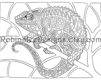 Chameleon Colouring Page, Animal art, coloring pages, Printable, Adult, Art Therapy, Animal Illustration, Downloadable Gift, Relaxation