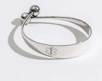 Medical ID Bracelet, Medical Alert, Gift for Her, Diabetes, Medical Alert Jewelry, Personalized, Bangle Bracelet, Custom, Personalized