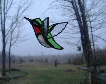 3D Ruby humming bird stained glass suncatcher