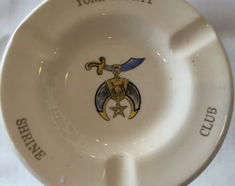 Vintage York County Shriner's Club Ashtray
