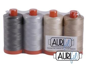 AURIFIL Set of 4 MAKO 50 Wt Grey Cream Light Tan Basic Color Quilting Thread
