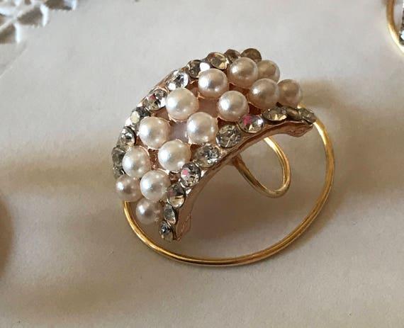 Bridal Hair Jewelry-Wedding Pearls-Rhinestones-Reception Hair Swirls-Bridesmaids Updo-FREE SHIPPING