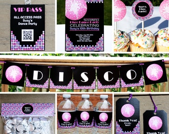 Disco Party Decorations Package PRINTABLE Retro Dance Birthday Party Decor Kit INSTANT DOWNLOAD with Editable Text