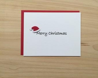 Santa Hat Holiday Christmas Card - Merry Christmas Card