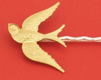 Large Brass Sparrow Bird Hairpin