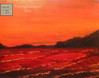 """Ocean Sunset Original Painting on Canvas, red and orange, 11 x 14, """"Evening Rolling In"""", SK01, FREE SHIPPING"""