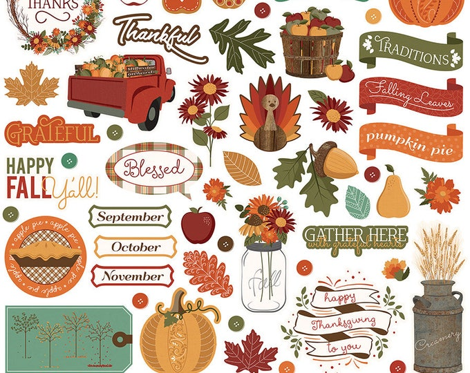 1 - 12x12 Sheet of Photo Play AUTUMN ORCHARD Fall Theme Scrapbook Element Stickers