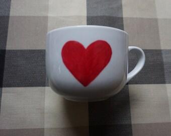 Handmade Big RED Heart Mug, cute,oil sharpies,coffee mug,sharpie mugs,diy,written,design,handwriting,red,heart,<3,simple,16oz,large,big