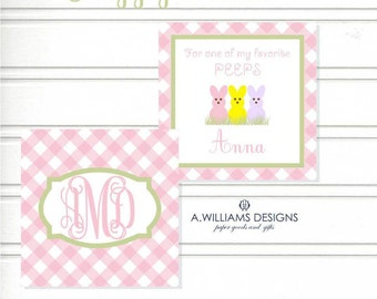 INSTANT DOWNLOAD/Printable Easter/gift tags for kids/personalized cards/pink gingham/3x3 pastel peeps Easter cards