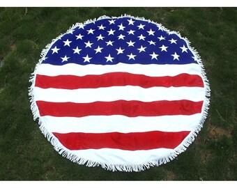 US Flag -Stars & Stripes -4th July -Round Beach towel Picnic Blanket