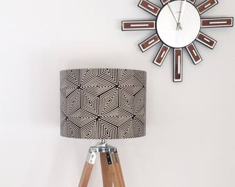 Matico Geometric Lampshade, Indian Print Lampshade, Retro Style Drum Shade, Contemporary Print, Black and White