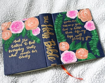 Navy Floral Custom Bible