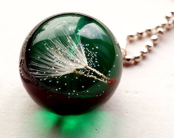 Pendant Necklace with Real Dandelion in the Resin Ball, Necklce Pedant,