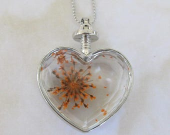 Valentine-dried flowers in locket,pendant,heart-Pendant-glass locket-Pressed Orange dried flowers -Heart shaped charm locket-  Ball necklace