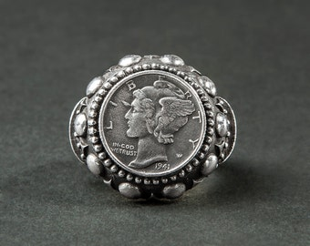 """""""Liberty"""" silver ring / coin (big silver ring, U.S. coin from 1941)"""
