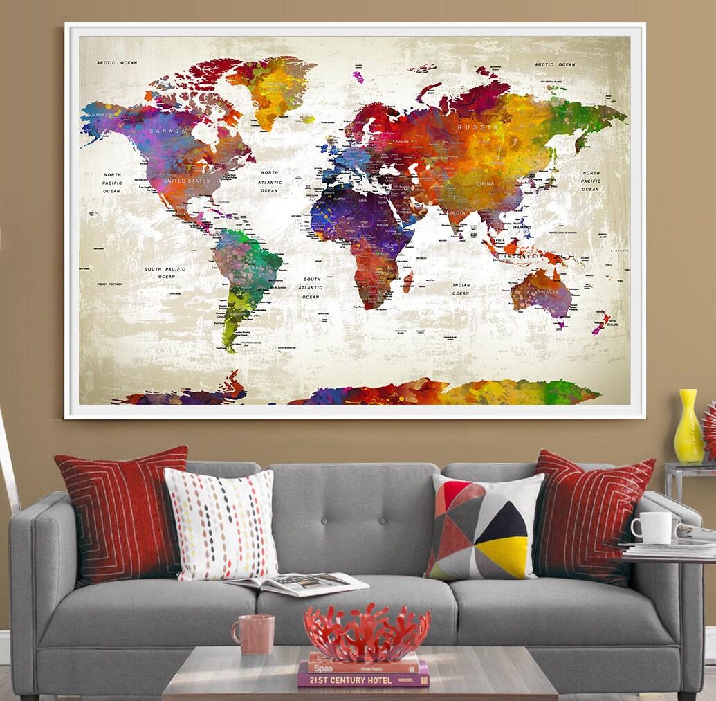 Globe Wall Art: Push Pin Travel World Map Extra Large Wall Art World ...