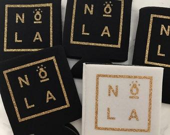 NOLA Bachelorette, Team Bride, Bride Tribe, Bachelorette, Wedding Can Cooler Glitter