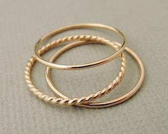 Thin Gold Ring - Stacking Rings - set of 3 - midi ring - thumb ring - pinky ring