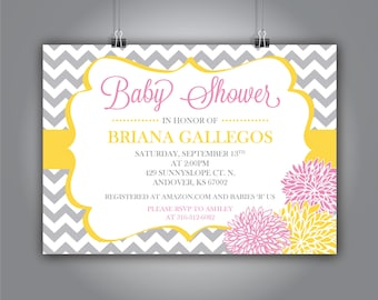 Chevron and Flower Baby Shower Invitation, Yellow and Pink, 5x7