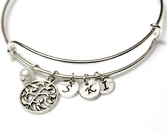 Family Tree Bracelet, Silver Plated Life Bracelet, Gold Bangle Bracelet, Tree of Life Bangle, Initial Bangle Bracelet, Pearl Bracelet