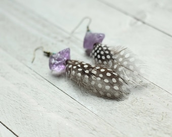 amethyst turquoise and feather earrings
