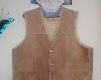 Men's Vintage Western Suede Sand Colored Vest! SALE!